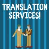 Palabra que escribe servicios de traducción del texto Concepto del negocio para la organización que proporciona mostrar para trad ilustración del vector
