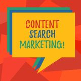 Palabra que escribe a texto el márketing contento de la búsqueda Concepto del negocio para promover páginas web aumentando la pil libre illustration