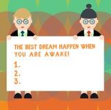 Palabra que escribe a texto el mejor sueño para suceder cuando usted está despierto Concepto del negocio para la parada que sueña libre illustration