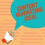 Palabra que escribe a texto idea contenta del márketing Concepto del negocio para centrado en crear y la distribución del conteni ilustración del vector
