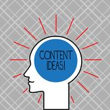 Palabra que escribe a texto ideas contentas Concepto del negocio para el pensamiento o la opinión formulado para la campaña conte ilustración del vector
