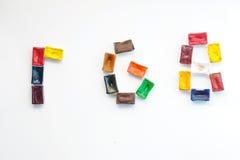Palabra RGB de la cubeta de la acuarela Foto de archivo