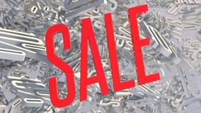 palabra roja de la venta 3d en el fondo blanco con la sombra representación 3d Foto de archivo libre de regalías