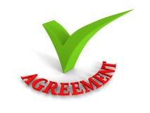 Palabra roja del acuerdo verde de la marca de cotejo en el fondo blanco Imagenes de archivo