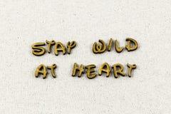 Palabra salvaje de la tipografía del amor de la ambición del plan del corazón de la estancia fotografía de archivo