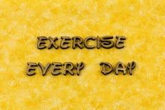 Palabra sana de la tipografía de la dieta de la fuerza de la salud del ejercicio físico fotografía de archivo libre de regalías