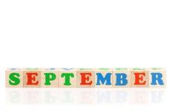 Palabra septiembre Imagen de archivo