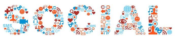 Palabra social con textura de los iconos de los media Foto de archivo libre de regalías