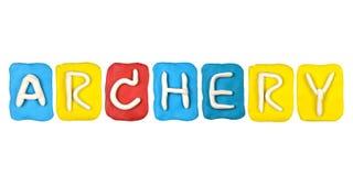 palabra TIRO AL ARCO de la forma del alfabeto del plasticine Imagen de archivo libre de regalías