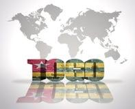 Palabra Togo en un fondo del mapa del mundo Imagenes de archivo