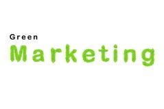 Palabra verde de la comercialización compuesta de las hojas verdes foto de archivo