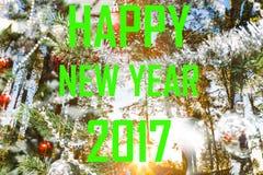 Palabra verde de la Feliz Año Nuevo 2017 con salida del sol del árbol de pino Fotos de archivo