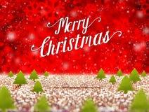 Palabra y árbol de navidad de la Feliz Navidad cuando nieve que cae en el rojo libre illustration