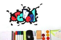 Palabra y fuentes de la escuela de la pintada Imagen de archivo libre de regalías