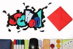 Palabra y fuentes de la escuela de la pintada Imagen de archivo