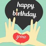 Palabra y vela del feliz cumpleaños Fotos de archivo libres de regalías