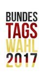 Palabras alemanas para la elección federal 2017 en oro rojo negro Imagen de archivo