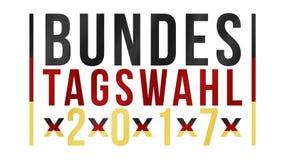 Palabras alemanas para la elección federal 2017 en oro rojo negro Imágenes de archivo libres de regalías