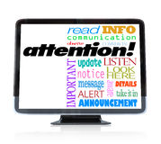 Palabras alertas del aviso de la atención en la televisión de la TVAD Foto de archivo libre de regalías
