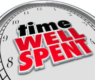 Palabras bien empleadas 3D del tiempo que dicen la cara de reloj de la cita Fotografía de archivo libre de regalías