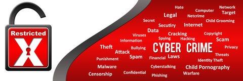 Palabras claves cibernéticas del crimen horizontales Fotografía de archivo