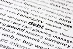 Palabras claves de la deuda Imagen de archivo libre de regalías