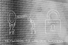 Palabras claves para desbloquear éxito, hombres con llave y la cerradura Foto de archivo libre de regalías