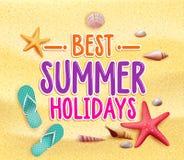 Palabras coloridas del título de las mejores vacaciones de verano en la arena del amarillo de la playa Fotografía de archivo libre de regalías