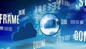 Palabras computacionales de la nube que enrollan en el cielo azul stock de ilustración