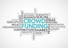 Palabras de Crowdfunding Imagenes de archivo