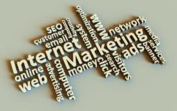 Palabras de la comercialización del Internet Foto de archivo