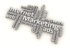 Palabras de la comercialización del Internet (blancas) Foto de archivo
