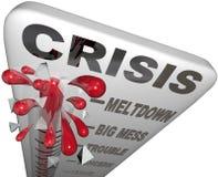 Palabras de la emergencia del problema del lío de la fusión del termómetro de la crisis Imágenes de archivo libres de regalías