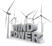 Palabras de la energía eólica - energía alternativa Fotografía de archivo