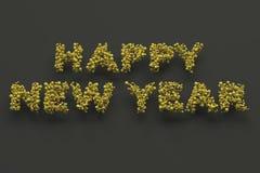 Palabras de la Feliz Año Nuevo de bolas amarillas en fondo negro ilustración del vector