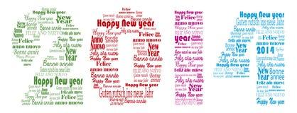 Palabras de la Feliz Año Nuevo 2014 en muchas idiomas Fotografía de archivo libre de regalías