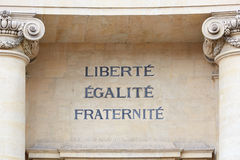 Palabras de la libertad, de la igualdad, y de Fraternity, lema francés imagenes de archivo