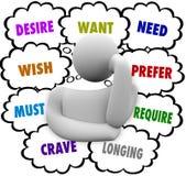 Palabras de la nube del pensamiento de Desire Want Wish Need Thinker Foto de archivo libre de regalías