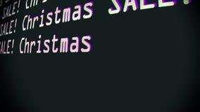 Palabras de la venta de la Navidad de la mano que mecanografían que escriben en viejo cierre llevado de la pantalla de visualizac ilustración del vector
