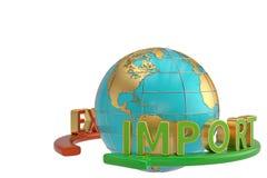 Palabras de las importaciones y de las exportaciones y corpor global del comercio del negocio del globo stock de ilustración
