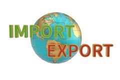 Palabras de las importaciones y de las exportaciones y corpor global del comercio del negocio del globo libre illustration
