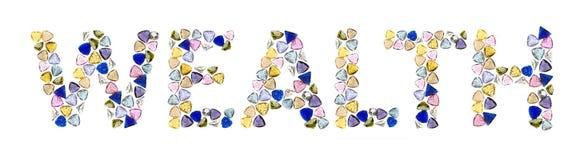 Palabras de las piedras preciosas, abundancia. Fotografía de archivo