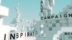 Palabras de las soluciones del márketing animadas con los cubos