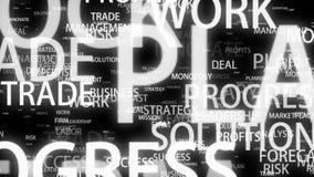Palabras de motivación del negocio que vuelan en el espacio 3d en fondo negro