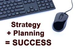 Palabras de Strategy+Planning=Success Fotografía de archivo libre de regalías