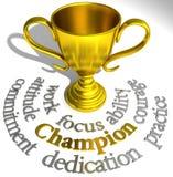 Palabras del éxito del trofeo del campeón que ganan stock de ilustración