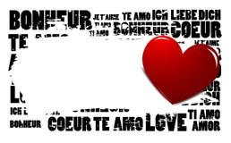 Palabras del amor con el icono del corazón Foto de archivo libre de regalías