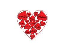 Palabras del amor dentro de corazones Ilustración del Vector