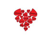 Palabras del amor dentro de corazones Stock de ilustración