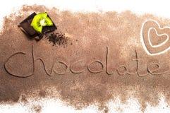 Palabras del chocolate Imágenes de archivo libres de regalías